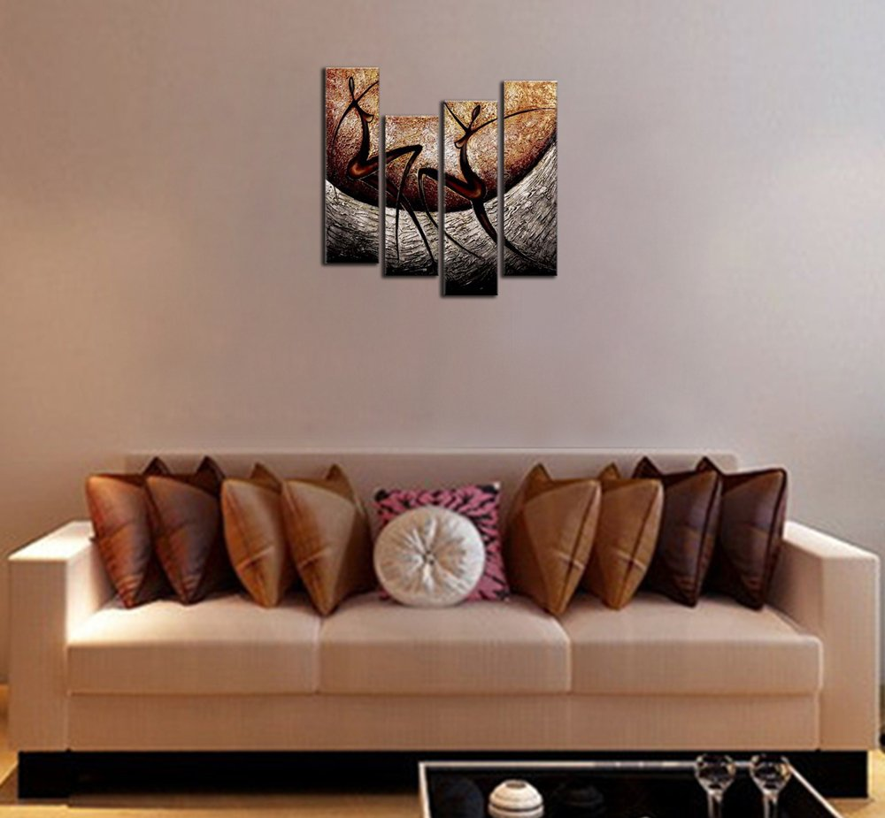 Wieco Art African Dancers Abstract Oil Paintings on Canvas Modern Canvas Wall Art Contemporary Artwork for Wall Decorations Home Decor by Wieco Art