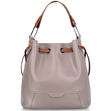 1d720a28b95b S-ZONE Women s Genuine Leather Shoulder Bucket Bag Crossbody Top-handle  Purse (Light