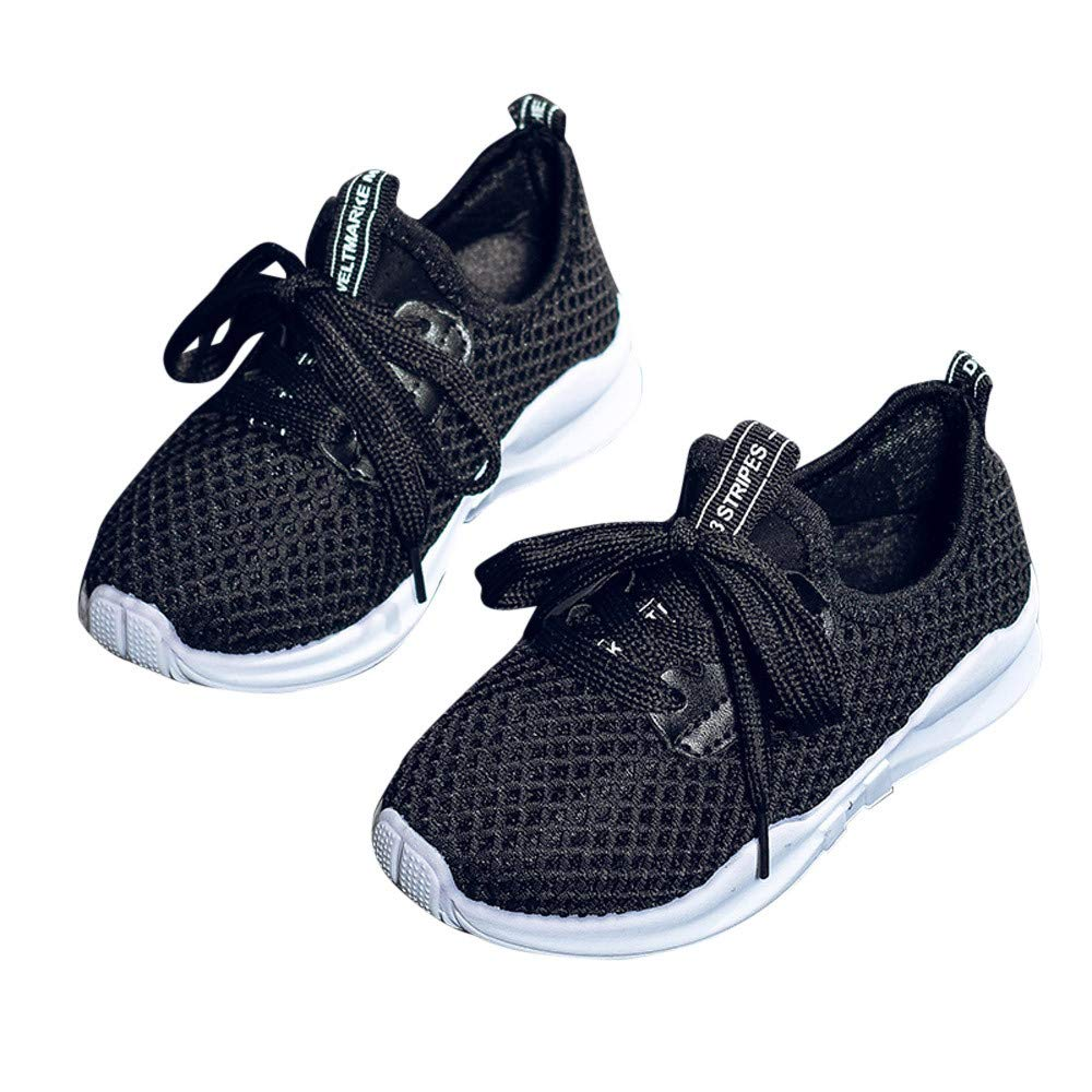 Kimloog Toddler Kids Lace-Up Running Shoes Baby Boys Girls Breathable Mesh Rubber Sneaker