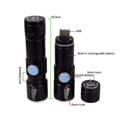 Amazon.com: LeKam Mini linterna USB recargable Mini LED ...