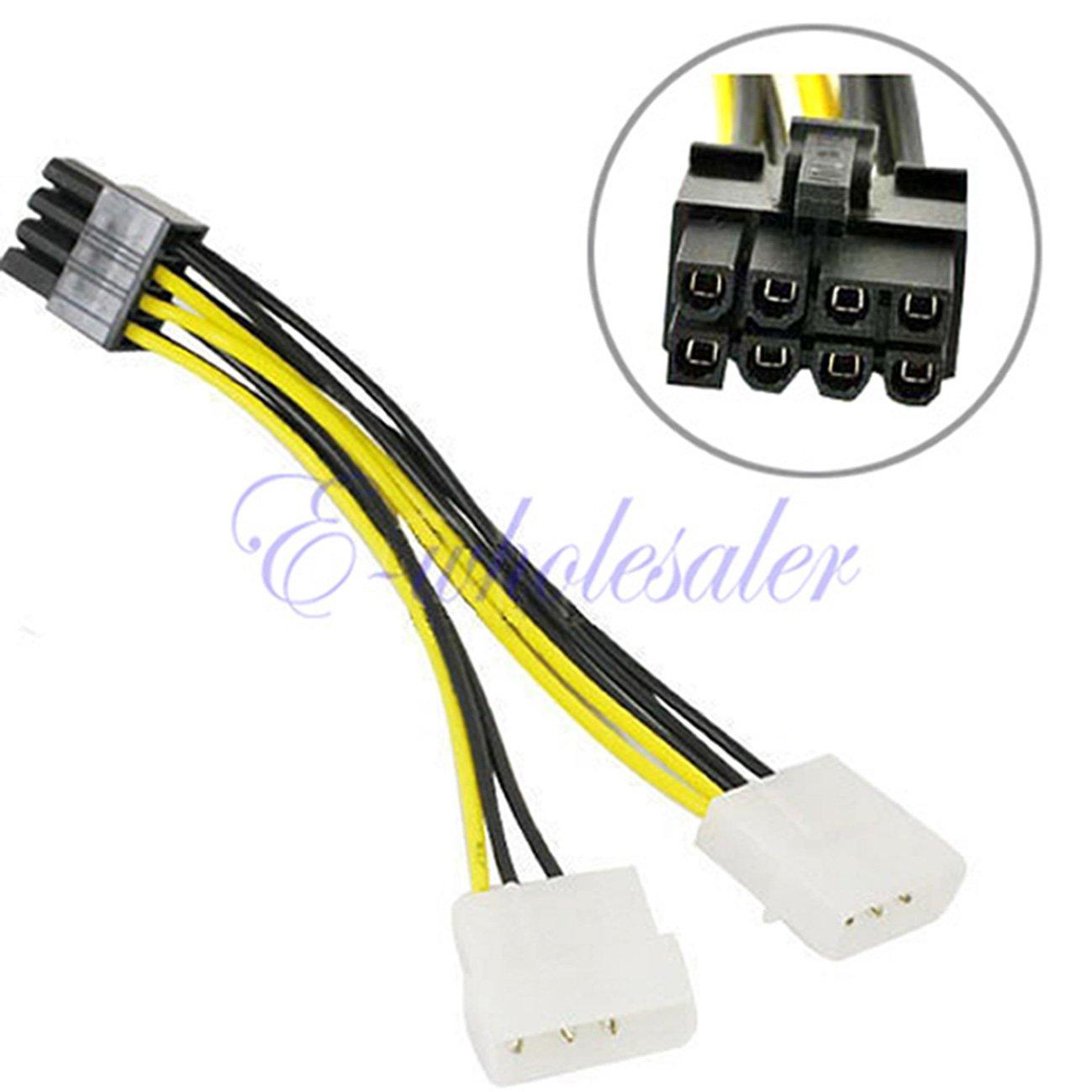 61MdokQOXPL._SL1299_ dual molex lp4 4 pin to 8 pin pci e express converter adapter molex to 6 pin wiring diagram at eliteediting.co