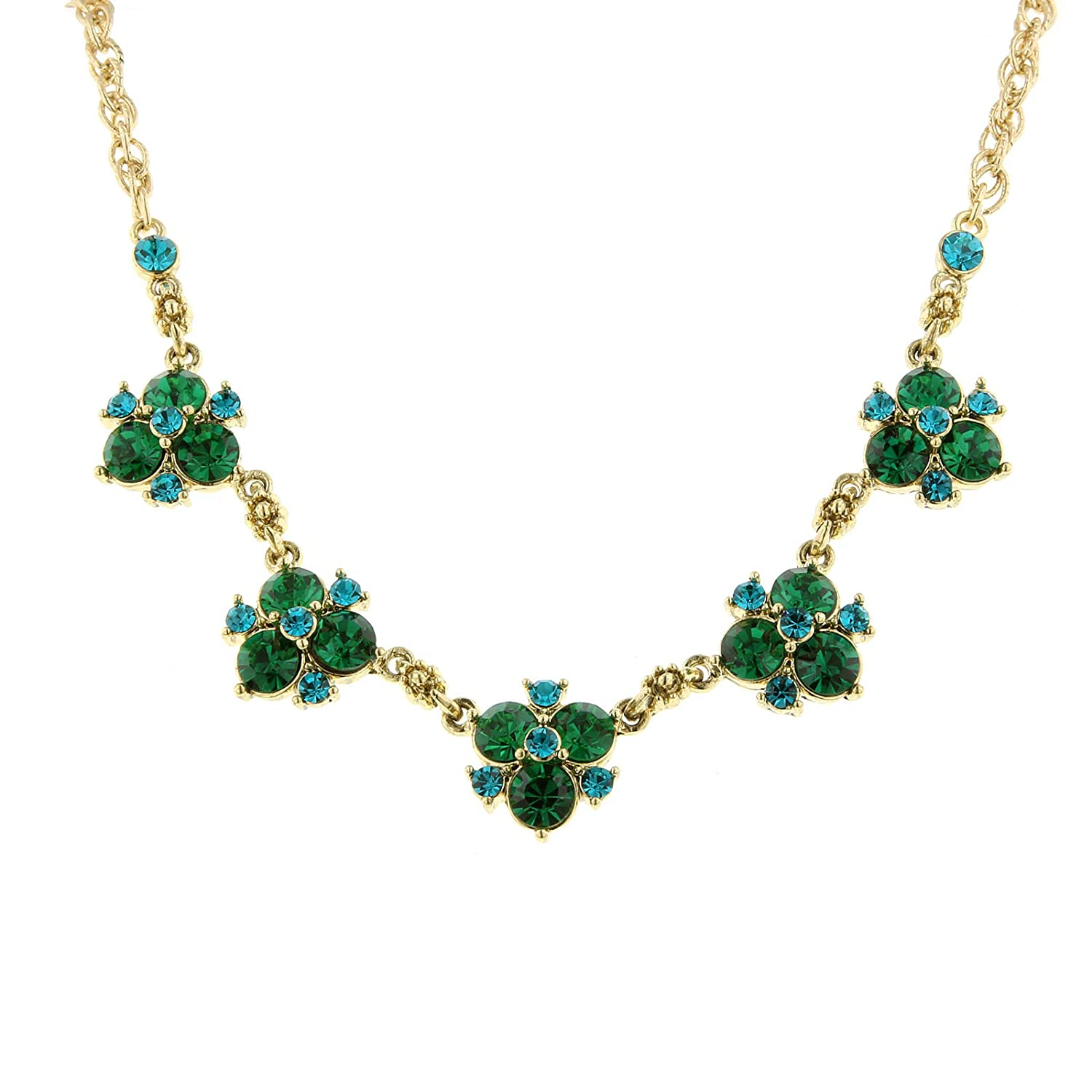 Gold-Tone Green and Blue Zircon-Color Crystal Cluster Collar Necklace 16 Adj.