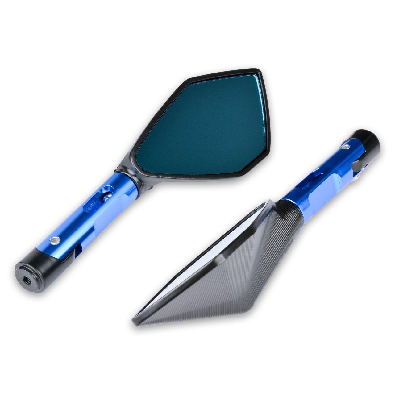 KATUR Specchi retrovisori Manubrio Moto Specchietto retrovisore Blu Moto Specchio Anti abbagliamento bluastri 8MM 10MM Bulloni filettati in Senso orario Supporti per Suzuki Honda Victory Chopper