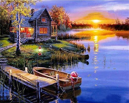 ABEUTY DIY Paint by Numbers for Adults Beginner - Rural Cabin Boat Lakeside 16x20 inches Number Painting Anti Stress Toys (No Frame)