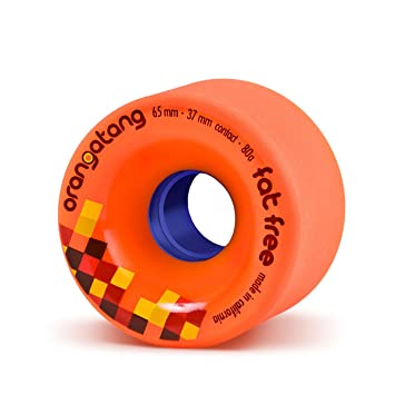 Orangatang Fat Free 65 mm 80a Freeride Longboard Skateboard Wheels w/Loaded Jehu V2 Bearings