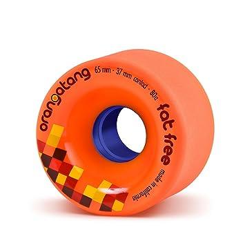 Orangatang Fat Free 65 mm 80a Freeride Longboard Skateboard Wheels w/Loaded Jehu V2 Bearings