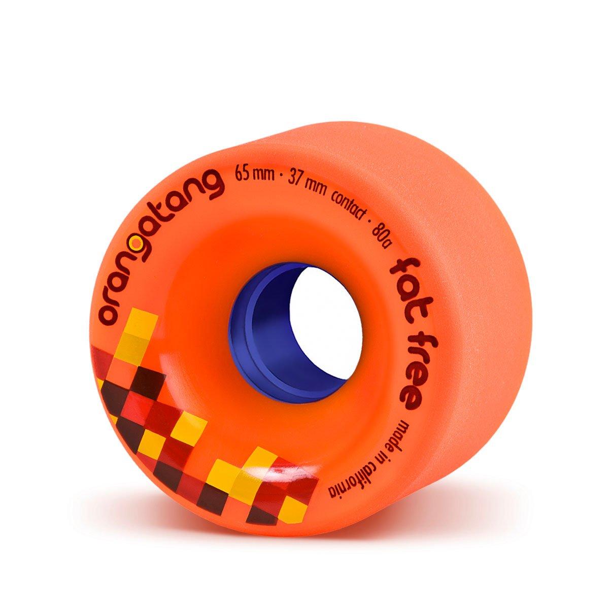 Orangatang Fat Free 65 mm 80a Freeride Longboard Skateboard Wheels w/Loaded Jehu V2 Bearings (Orange, Set of 4)