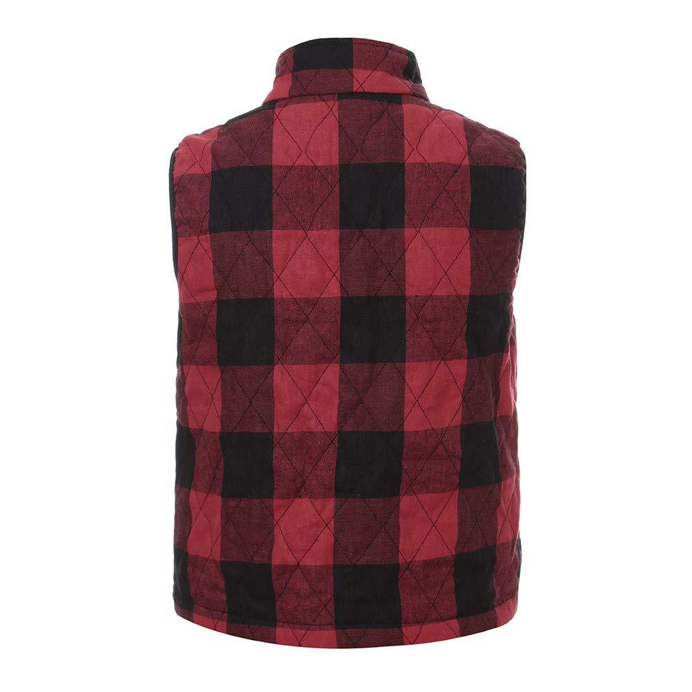 Women Plaid High Neck Sleeveless Sweater Vest Blouse Shirts Zip Coat Sweatshirt