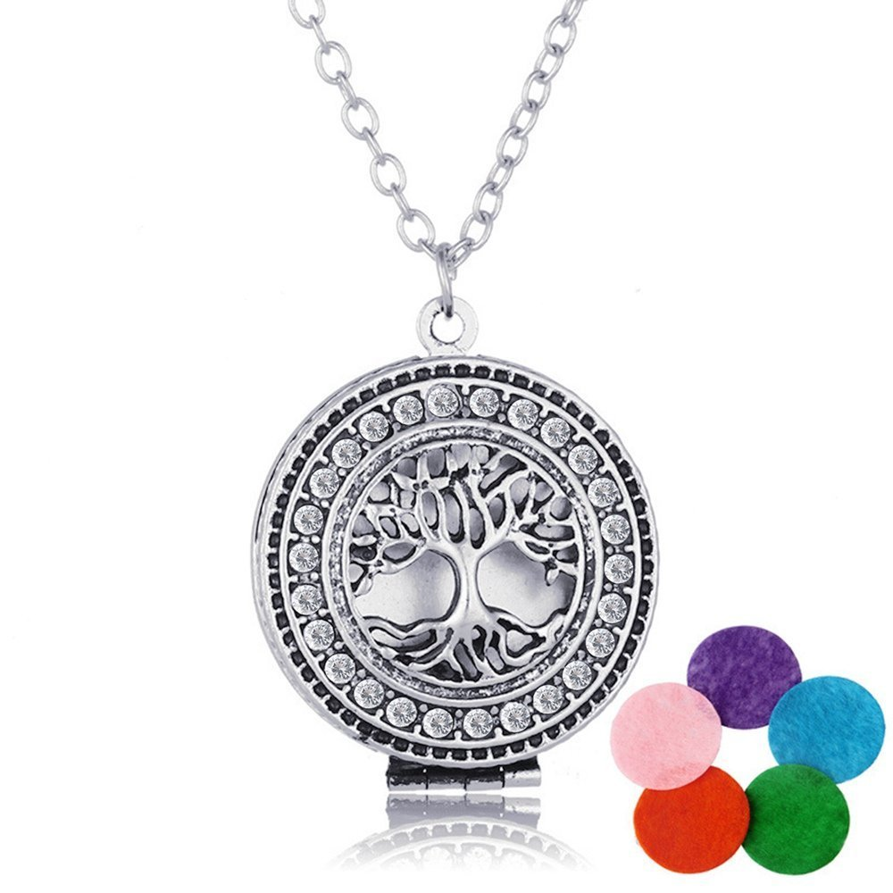 Aromatherapy Essential Oil Diffuser Necklace, Morenitor Silver Plated Life Tree Locket Pendant Necklace Jewelry Gifts for Women, 5 Colors Refill Pads