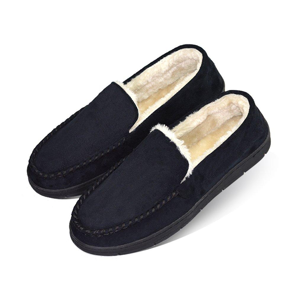 Men's Plush Terry Microsuede Bedroom Indoor Outdoor Moccasin Slippers US 11-12 Pure Black (FBA)