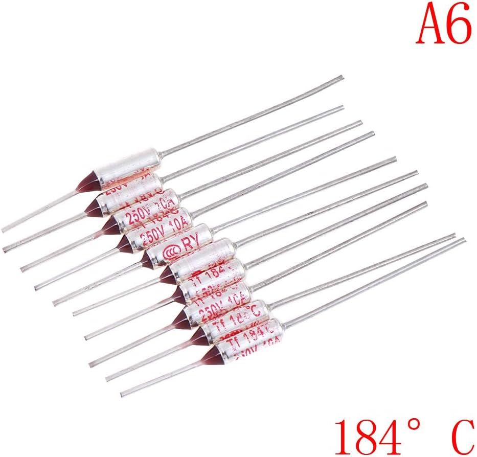 Bloomeet 20pcs Fusible Thermique 250V 10A SF Types 95/°C//133/°C//145/°C//157/°C//172/°C//192/°C//200/°C//216/°C//240/°C
