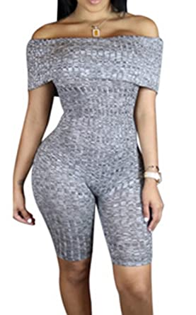 ebb35b5b1089 Off Shoulder Cable Knit Romper Bodycon Short Knee Jumpsuit Club ...