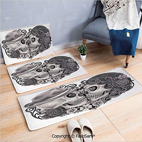 3 Piece Non Slip Flannel Door Mat Art Skull with Hat All Saints Day Mexico Culture Festival Floral Illustration Decorative Indoor Carpet for Bath Kitchen(W15.7xL23.6 by W19.6xL31.5 by W35.4xL62.9) ()
