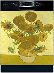Famous Paintings Magnetic Dishwasher Door Cover Sheet, Vinyl Decorative Panel Decal For An Instant, Easy Update (23.5 x 26 Inches, Easily Trimmable, Sunflower)