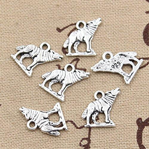 50pcs Charms Howling Wolf 15x15mm Antique Making Vintage Tibetan Silver Zinc Alloy Pendant