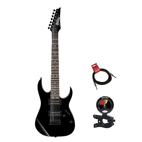 Ibanez GRG7221 Gio 7 - Guitarra eléctrica de 7 cuerdas (incluye afinador de guitarras y
