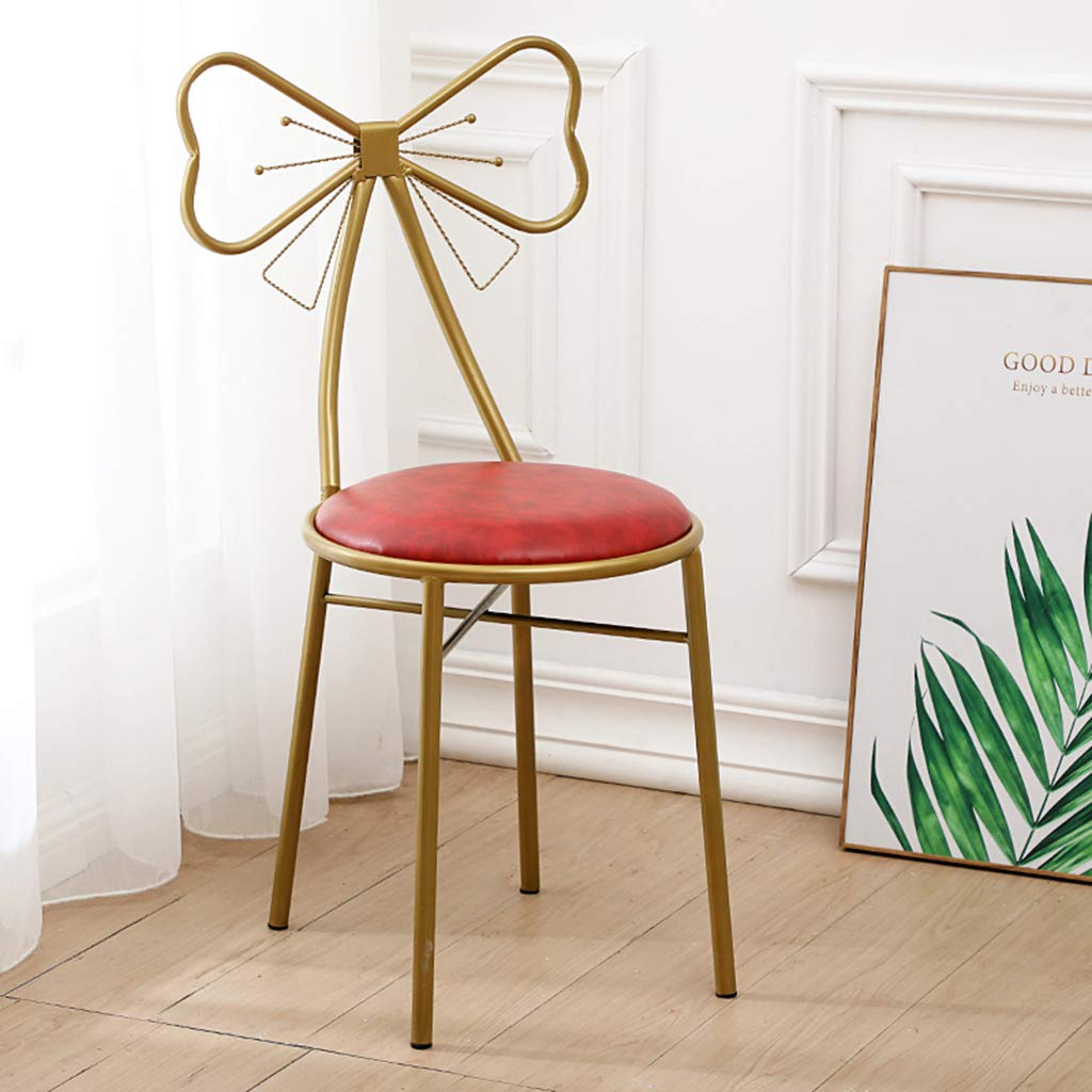 XIAOZHUZHU Klädbordsstol, hem ryggstöd stol flickor sovrum gyllene makeupstol vardagsrum dekorativ stol balkong lounge stol café matstol, rosa Röd