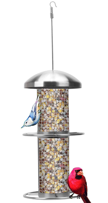 Wild Bird Feeder, VUV Squirrel Buster Standard Panorama Tube Feeder with 2 Metal Cardinal Ring 5.5''x5.5''x22'' (w/hanger) 2 lbs Seed Capacity (Metal mesh)