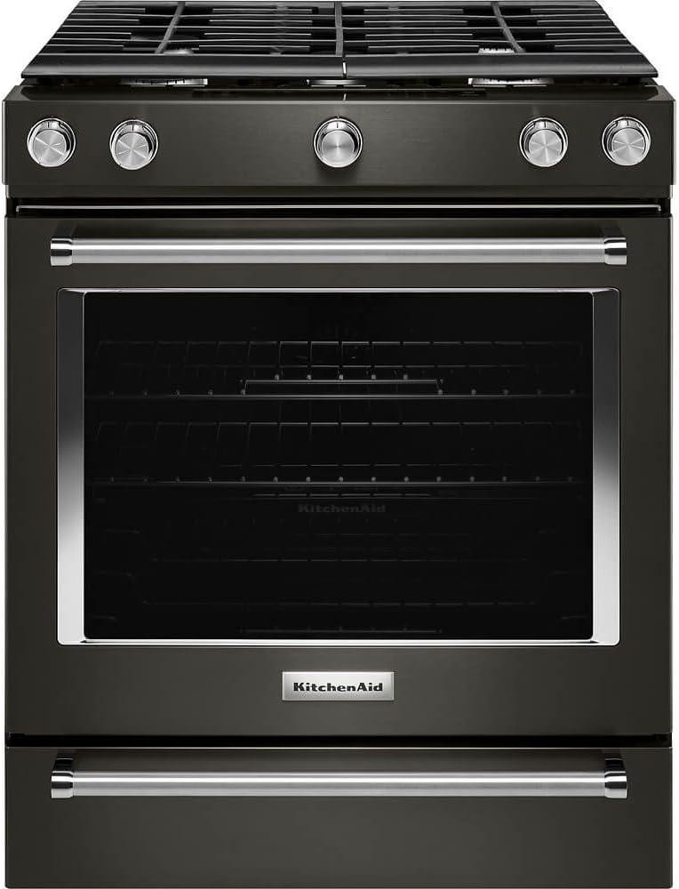 KitchenAid KSGG700EBS 5.8 Cu. Ft. Slide-In Black Stainless Gas Range KSGG700EBS