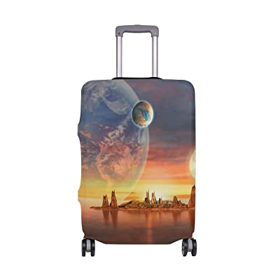 Luggage Protective Covers with Outer Space Ocean Washable Travel Luggage Cover 18-32 Inch