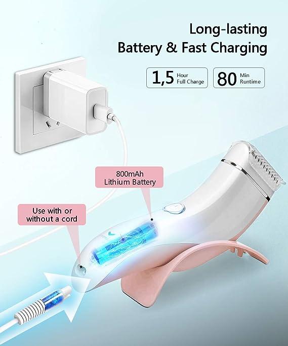 Afeitadora Eléctrica Mujer, Recortadora Femenina USB Recargable ...