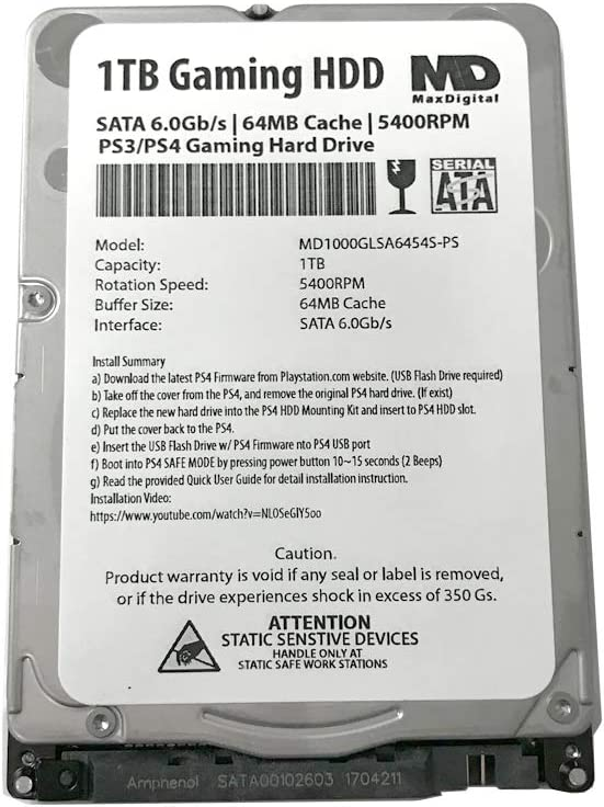MaxDigitalData (MD1000GLSA6454-PS) 1TB 64MB Cache 5400RPM SATA 6.0Gb/s 2.5inch 7MM Gaming Hard Drive (for PS3/PS4) - 2 Year Warranty