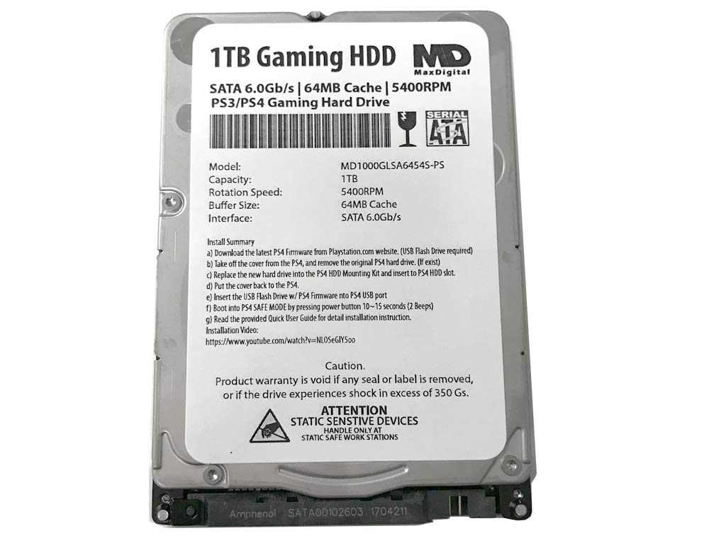 MaxDigitalData (MD1000GLSA6454-PS) 1TB 64MB Cache 5400RPM SATA 6.0Gb/s 2.5inch 7MM Gaming Hard Drive (for PS3/PS4) - 2 Year Warranty by MaxDigitalData