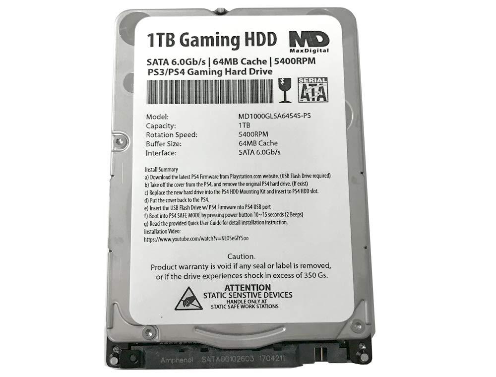 MaxDigitalData (MD1000GLSA6454-PS) 1TB 64MB Cache 5400RPM SATA 6.0Gb/s 2.5inch 7MM Gaming Hard Drive (for PS3/PS4) - 2 Year Warranty