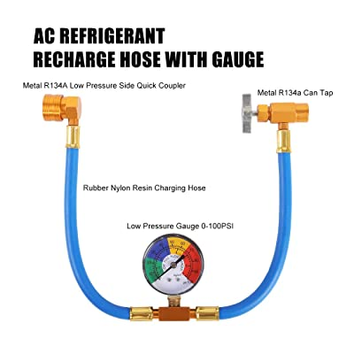 Home Air Conditioning U Charging Hose Low Pressure Measuring Meter with 1//4 Fittings Quick Coupler JIFETOR AC Charge Hose with Gauge for R134A R12 R22 Can Tap Car HVAC Refrigerant Recharge Kit