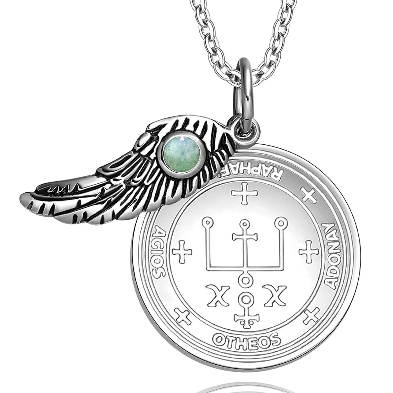 Amazon archangel raphael sigil amulet magic powers angel wing amazon archangel raphael sigil amulet magic powers angel wing charm green quartz pendant 18 inch necklace jewelry buycottarizona Images