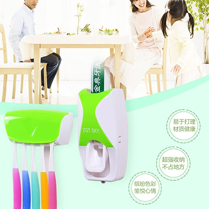 KingMas® Cepillo de dientes titular Set baño dispensador automático de pasta de dientes exprimidor de plástico soporte para cepillo de dientes cepillo de ...