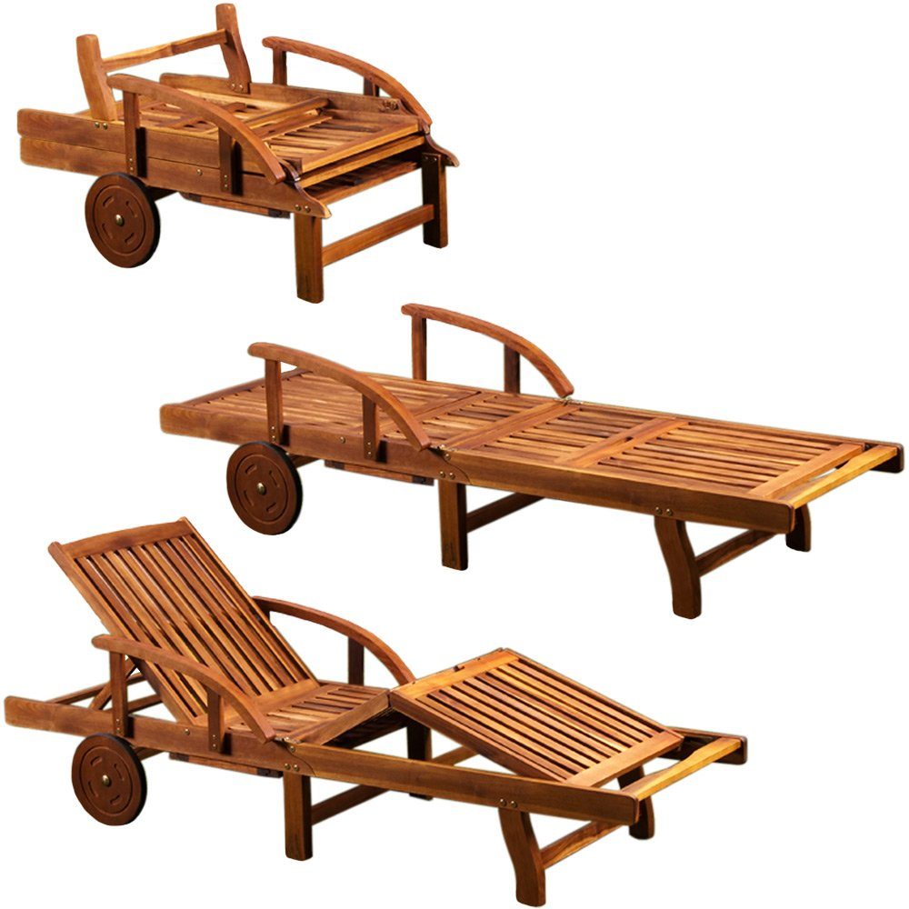 garden sun lounger bed chair wooden folding recliner. Black Bedroom Furniture Sets. Home Design Ideas
