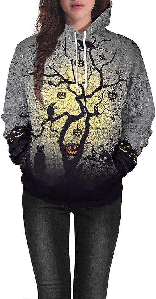 QIQIU Newest! Women's Halloween Pumpkin Tree Hooded Sweatshirt Long Sleeve Pullover Blouse