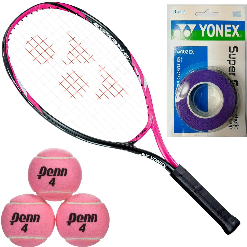 Yonex EZONE Smash Pink 23 Inch Junior Tennis Racquet Starter Set or Kit for Girls Bundled with a 3-Pack of Purple Super GRAP Overgrips and a Can of Pink Tennis Balls
