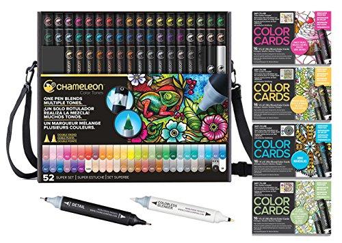 Chameleon Deluxe Bundle 52-Pen Set with Case, Extra Blender, Extra Detail Pen and 4 Packs of Color Cards by Chameleon