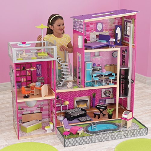 KidKraft Uptown Wooden Dollhouse With 35 Pieces of Furniture by KidKraft