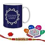 Indigifts Rakhi Gifts Bhaiya Is A Blessing Quote Printed Dark Blue Coffee Mug 325ml (Multicolour)