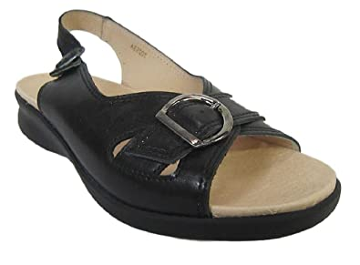 77821aff9f56 db  Sicilly  Women s Black Leather Sandals(4E Wide) (4 UK)  Amazon ...