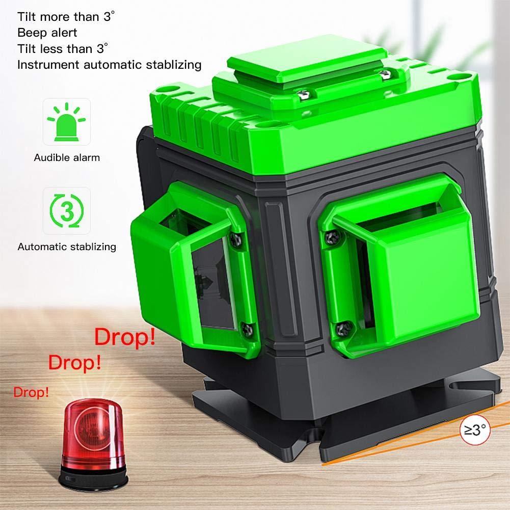 heirao4072 Nivel de Cruz Verde 3D 3x360 /° Nivel autonivelante Nivel de 130 pies Base de Montaje pivotante magn/ética 12 l/íneas IP54 Anti-Salpicaduras 1M Bater/ía a Prueba de Golpes incluida