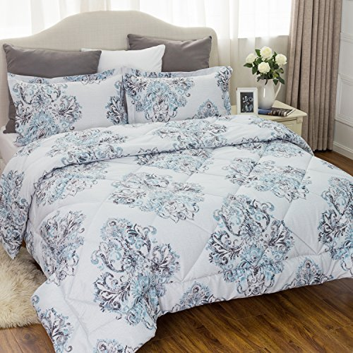 Damask Full Comforter Set (Damask Bedding Comforter Sets Full/Queen size 88x88 Grey Bedroom Bedspread All season Down Alternative Microfiber Elegant Luxury (1 Comforter+2 Pillow shams) by Bedsure)