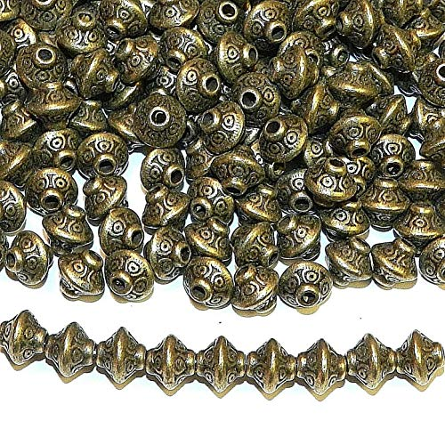 Beads - Bead Jewelry - Beads for Women Men - Cute - Antiqued Bronze Pattern Bicone Metal Spacer 100 pcs