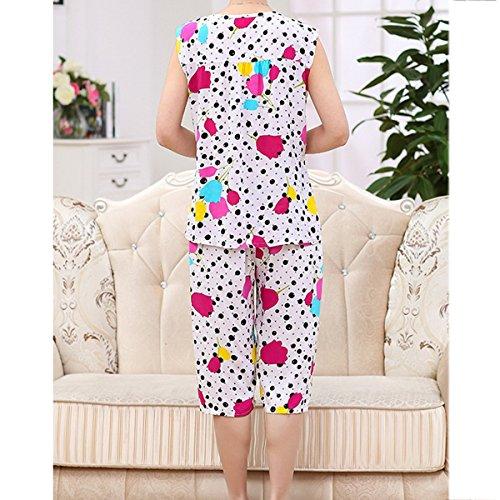 De Gran Tamaño Señoras Sin Mangas Simple Impresión Traje De Dos Piezas Conjunto De Pijama Ropa De Dormir 12
