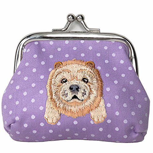 [ CHOW CHOW ] Cute Embroidered Puppy Dog Buckle Coin Purse Wallet [ Purple Polka Dots ]