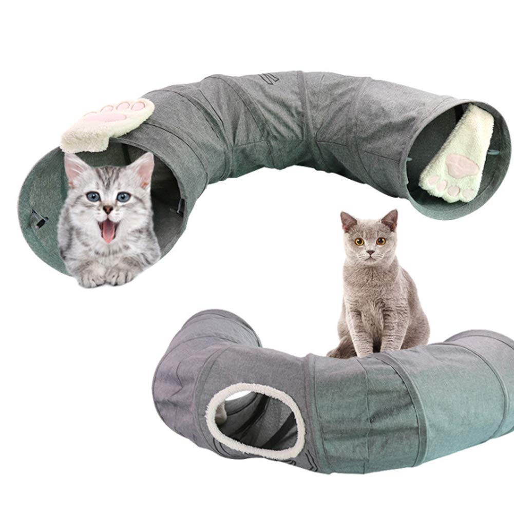 PJDDP Cat Tunnel Crinkle Collapsible for Indoor Road Cat Tunnel Cat Play Tube Cat Toys Pet Training Tunnel Tube for Rabbits, Kittens, Ferrets and Dogs,Grey by PJDDP