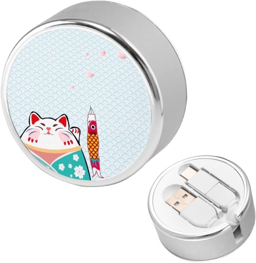 Can Be Charged and Data Transmission Synchronous Fast Charging Cable-Lucky Cat Waving Charging Cable Round USB Data Cable