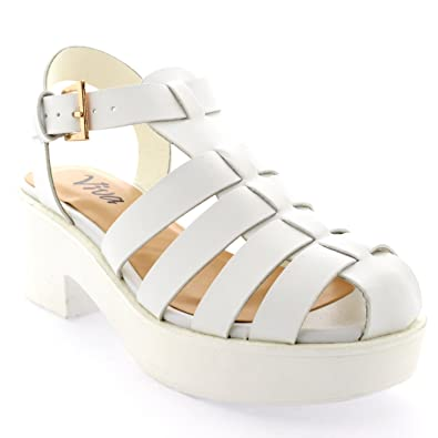 1b3ad23803e Viva Womens Mid Heels Festival Gladiator Platform Shoes Chunky Heel Sandals  - White - 5-