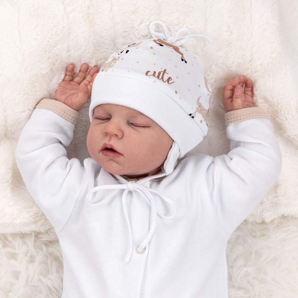 Baby Sweets Jungen M/ütze wei/ß grau gelb Motiv: Little Roar Gr/ö/ße: 0-3 Monate Babym/ütze mit Knoten f/ür Neugeborene /& Kleinkinder 62