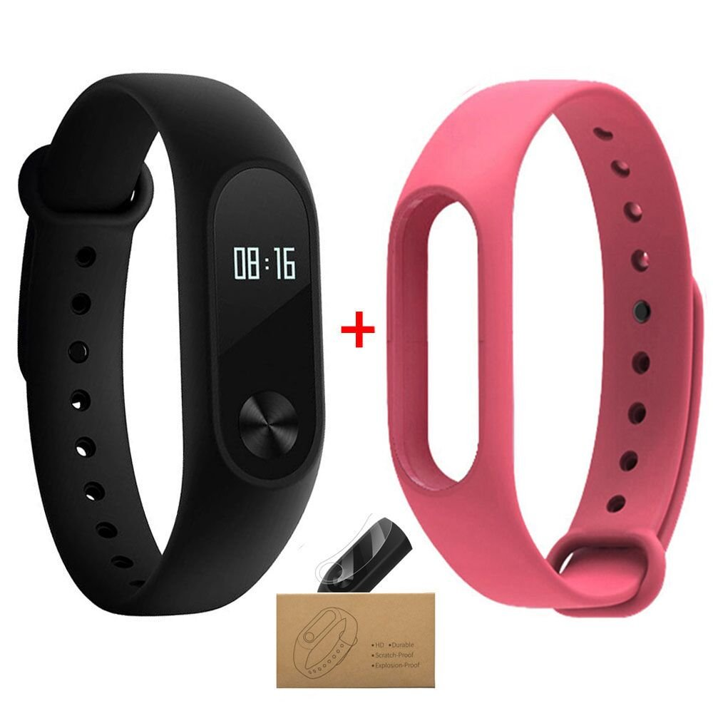 Xiaomi Mi Band 2 Smart Wristband With Pink Strap Mi band 2 Bracelet With Smart Heart Rate Touchpad OLED Screen