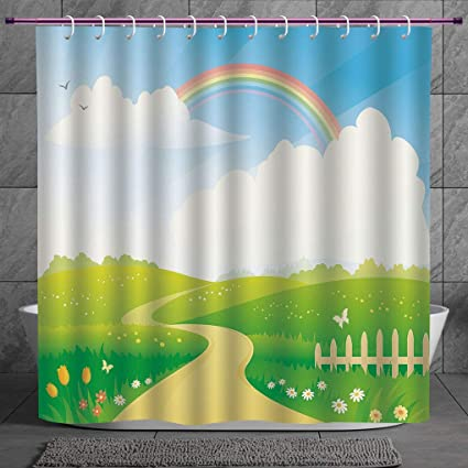 Durable Shower Curtain 2 0 [ Rainbow,Landscape Image Green