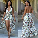 Kearia-Women-Summer-Sexy-V-Neck-Halter-Floral-Maxi-Skirt-Overlay-Romper-Playsuit